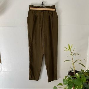 Paper bag waist olive green trousers